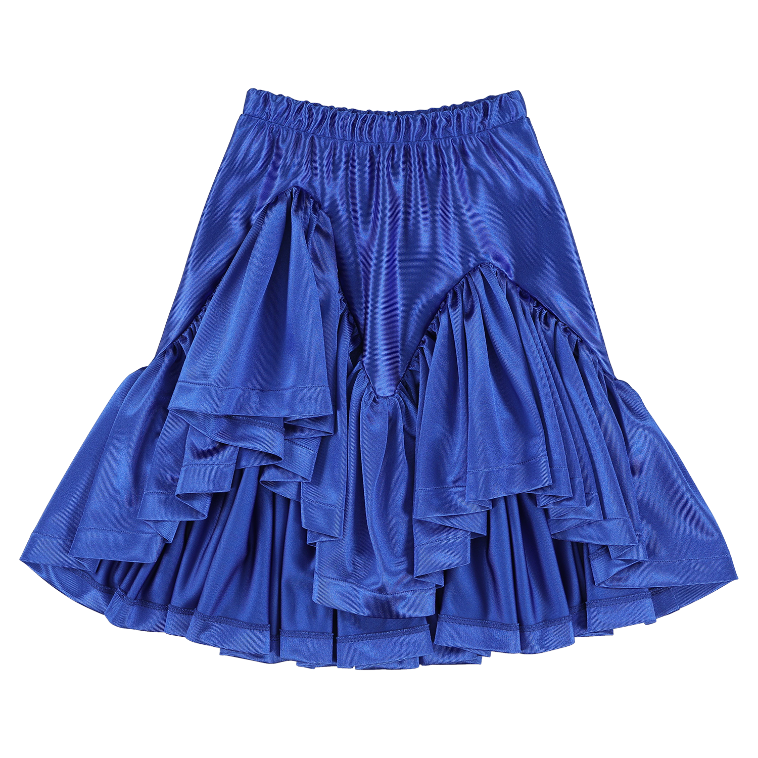 Glimmer Galaxy Blue Shiny Ruffled Skirt