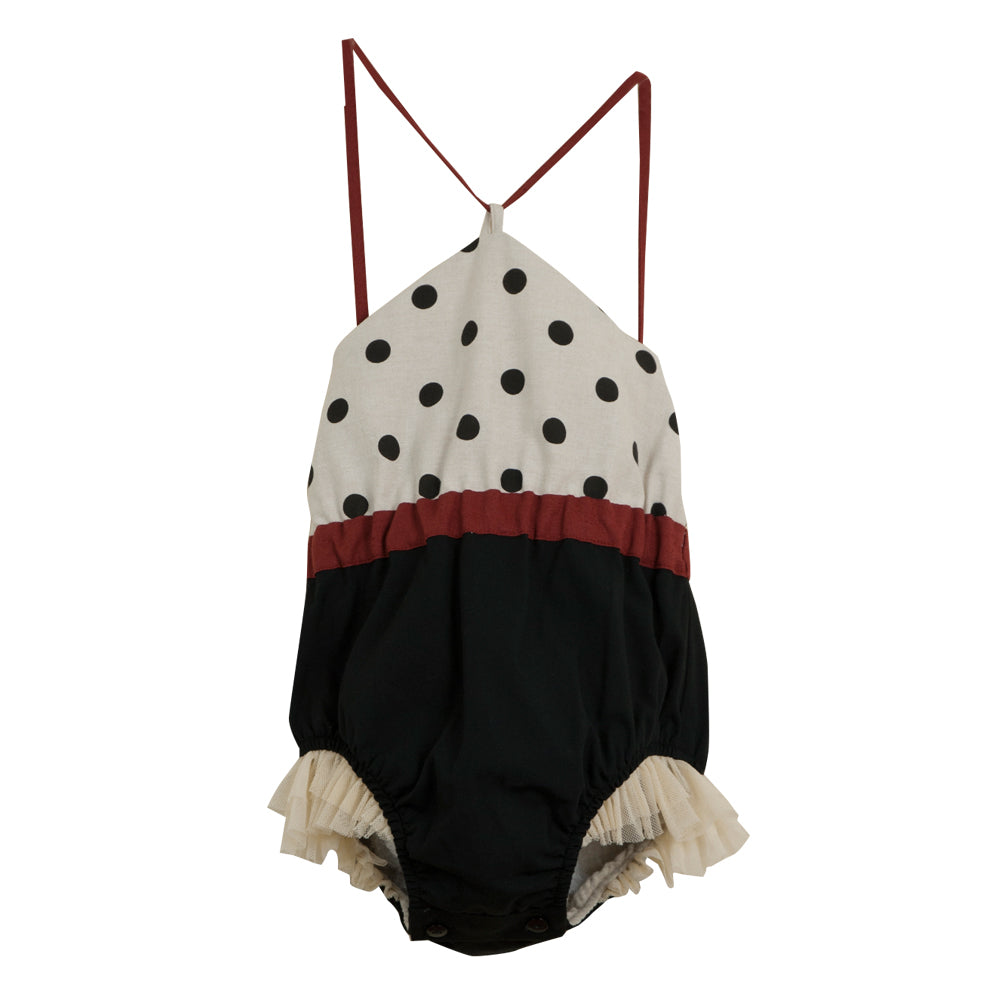Reversible bathing-suit-style romper suit