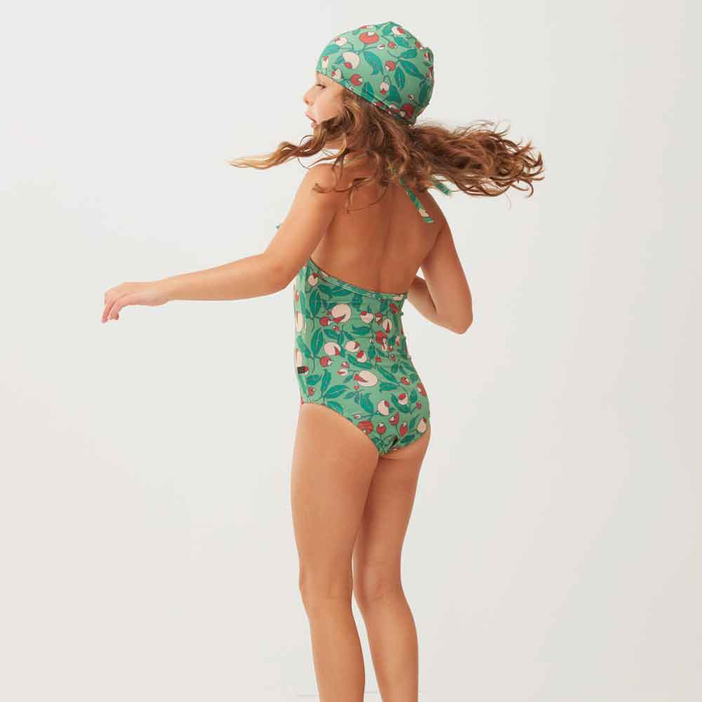 Green Flowers Swim Cap