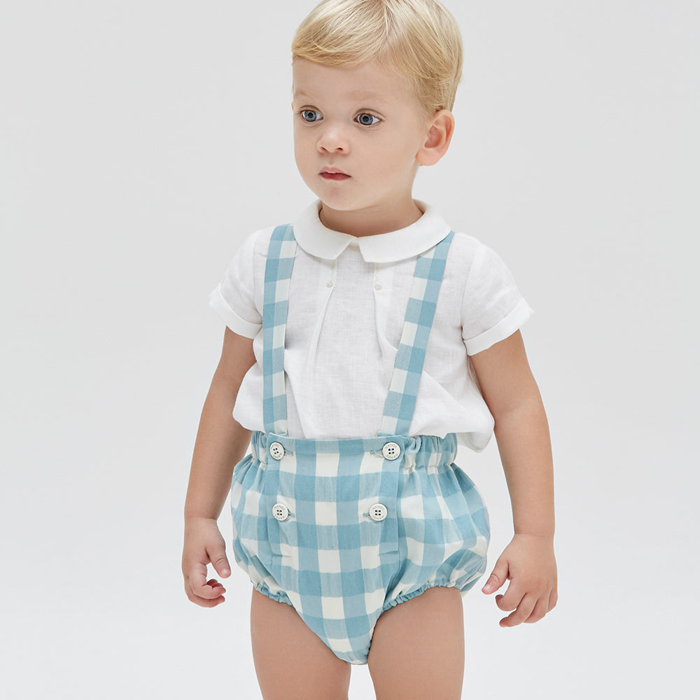 Checked Suspender Strap Bloomers