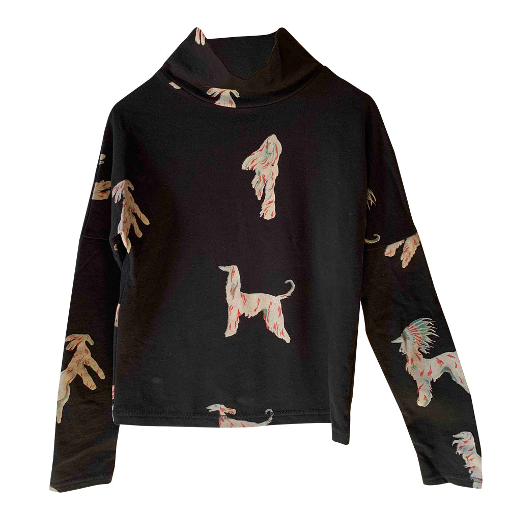 Borzoi Black Printed Long Shirt