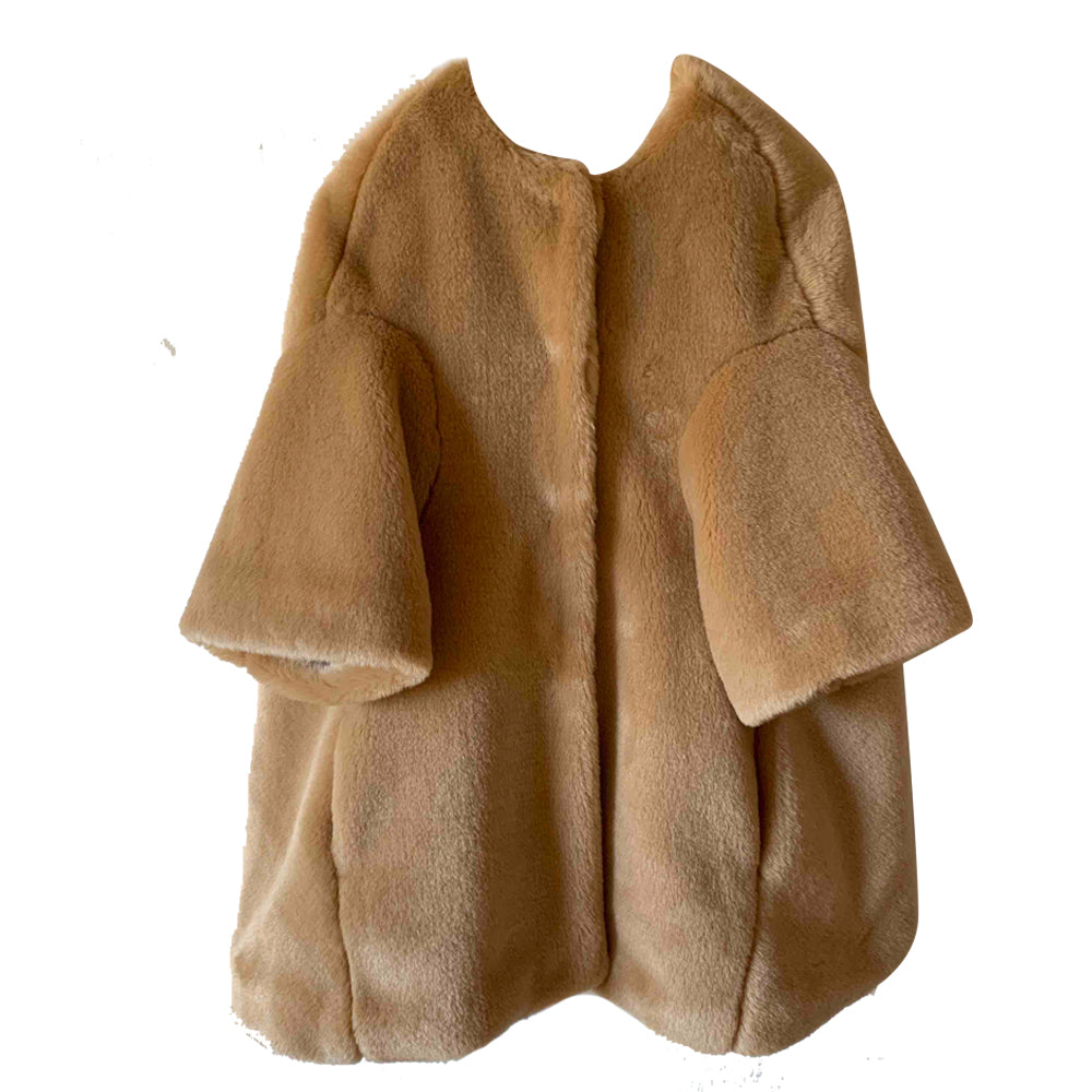 Olive Fur Cocoon Coat
