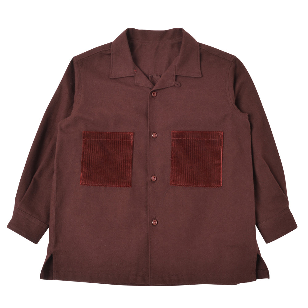 Burgundy Open Collar Shirt