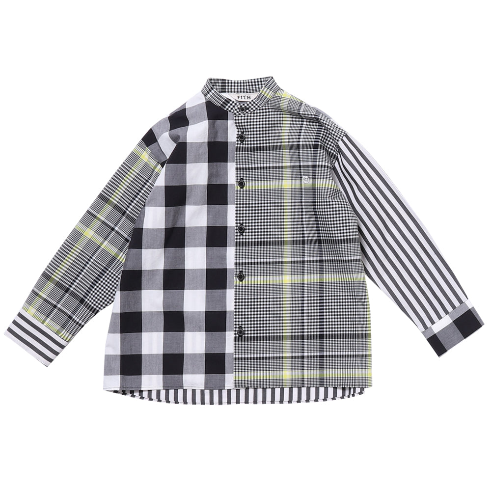 Black Stripe Mandarin Collar Shirt