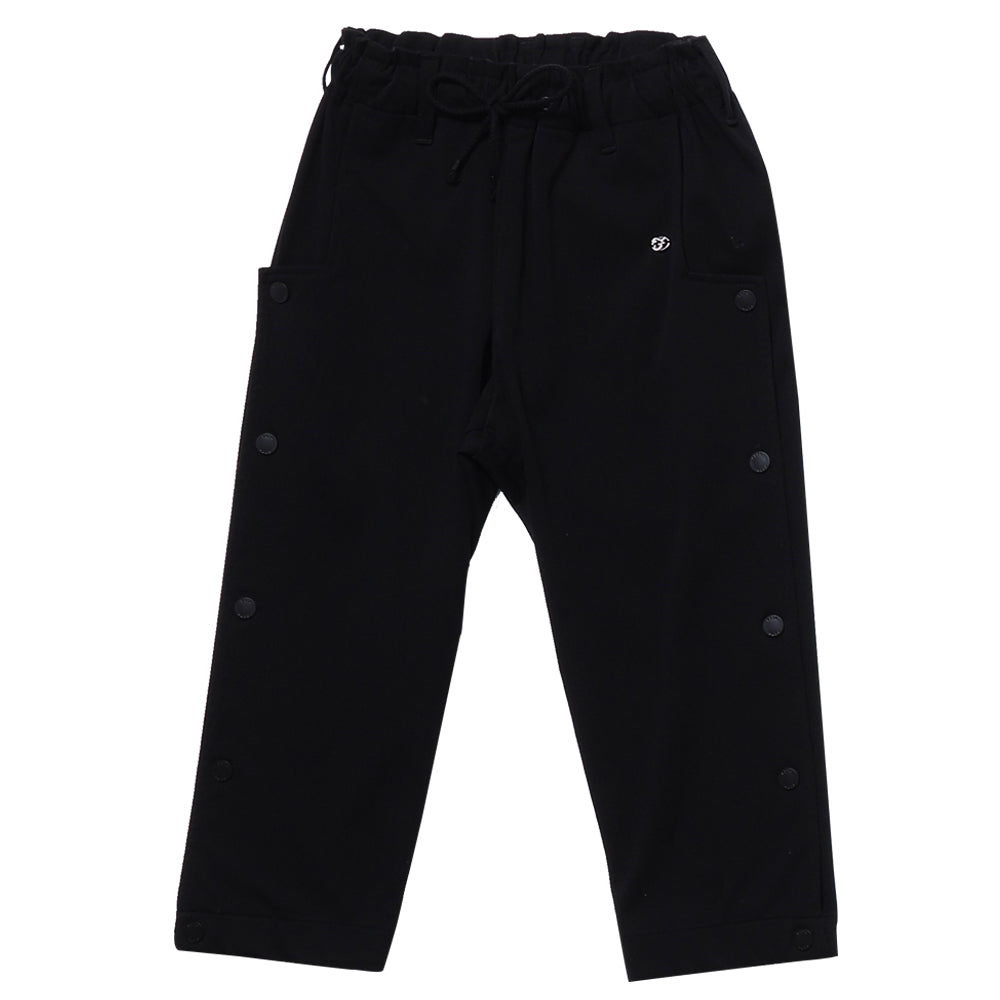 Stretch Black Snapped Pants