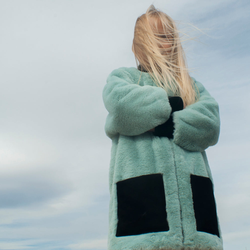 Sea Green Faux Fur Coat