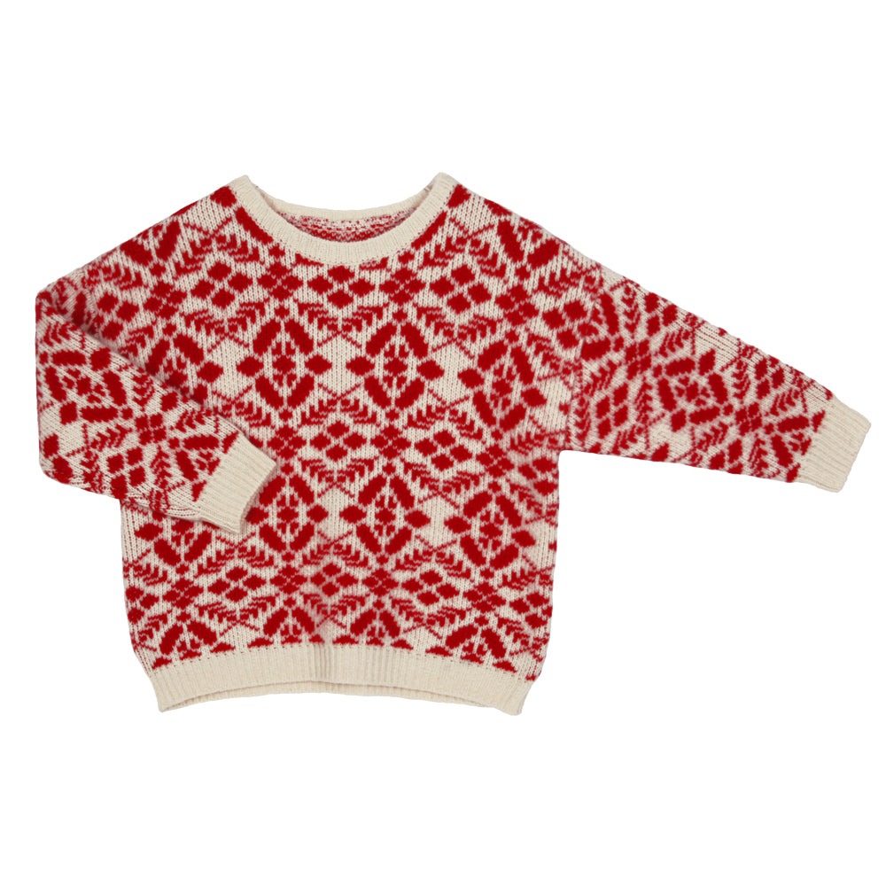 PREORDER: White and Red Intarsia Knit Sweater