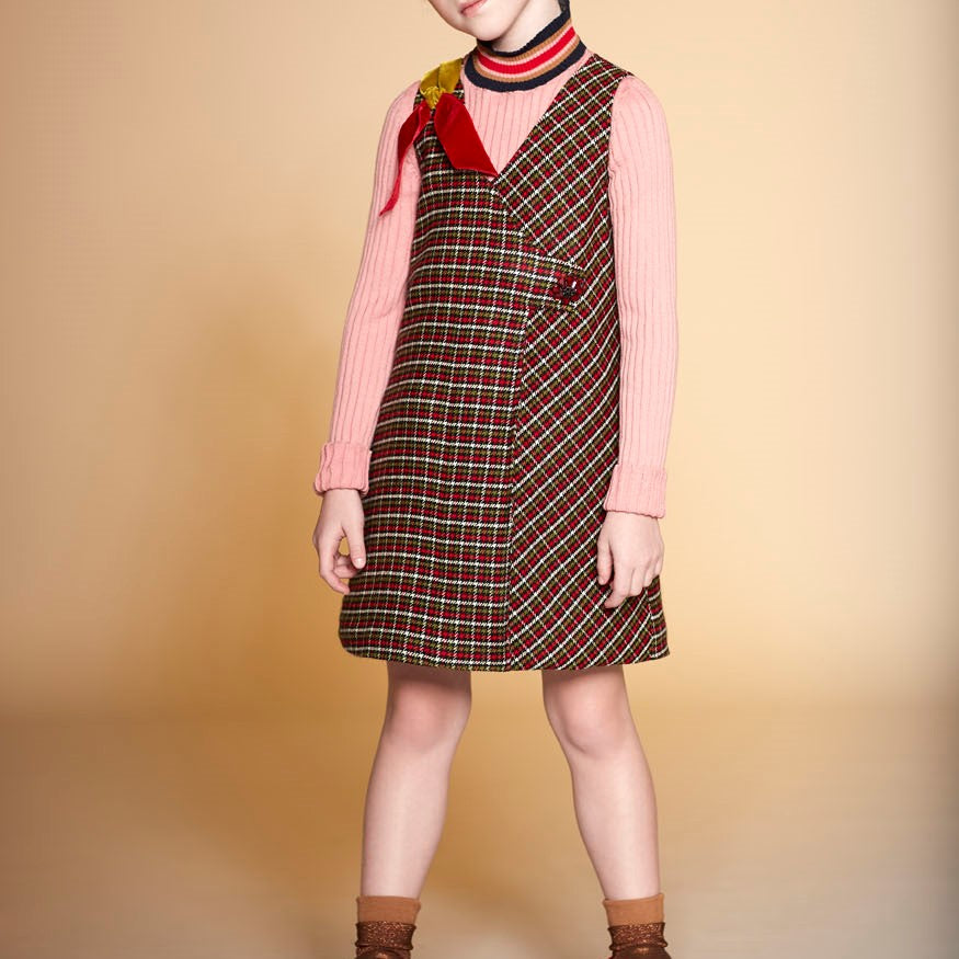 Mimisol Green Checked Dress