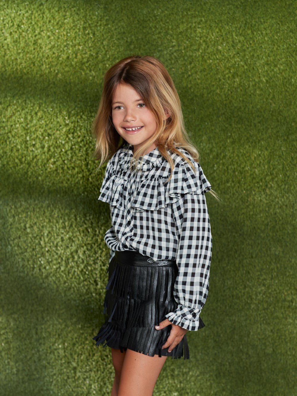 Ruffled Checked Blouse