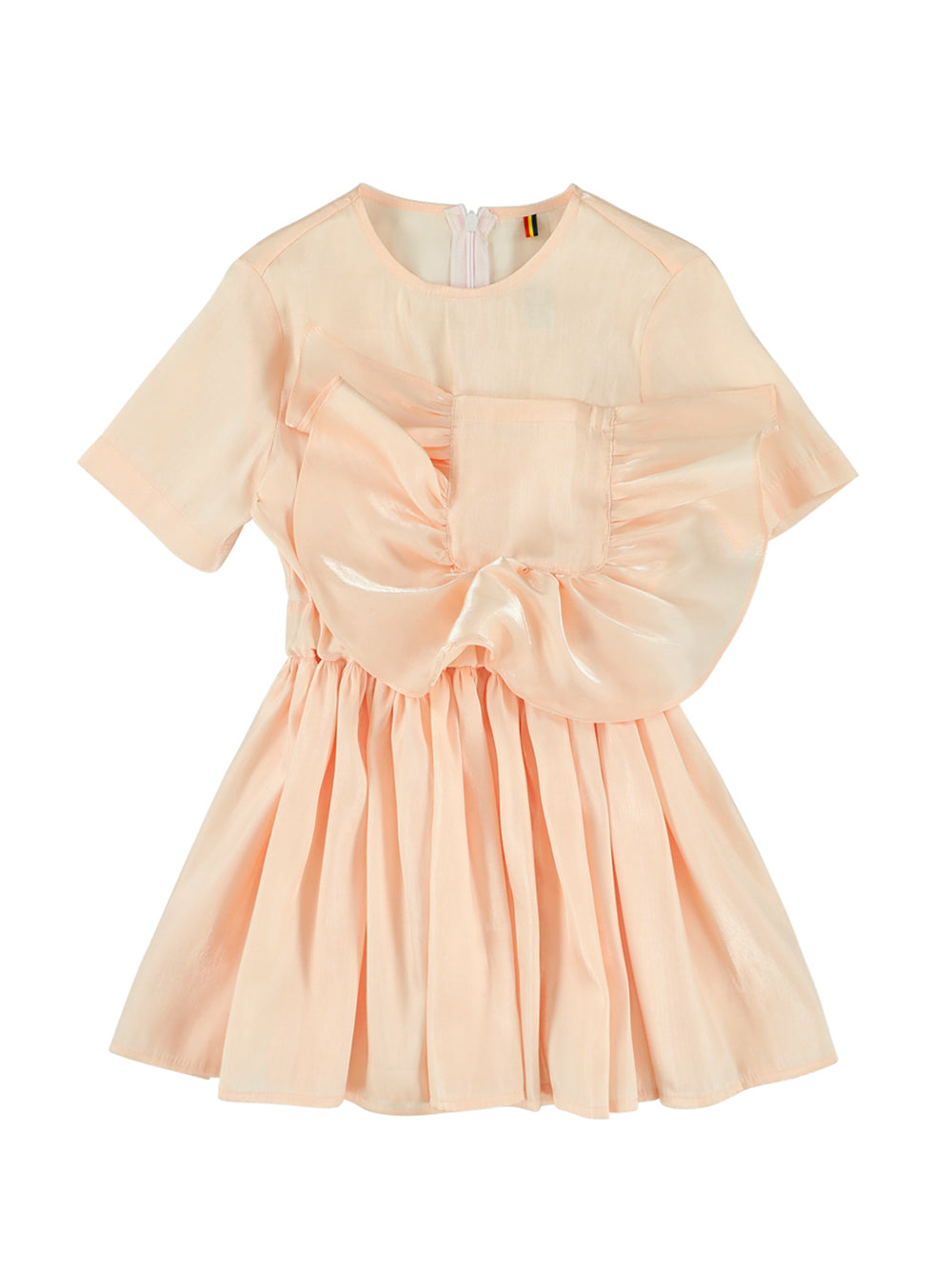 Peach Ruffled Pocket Dress