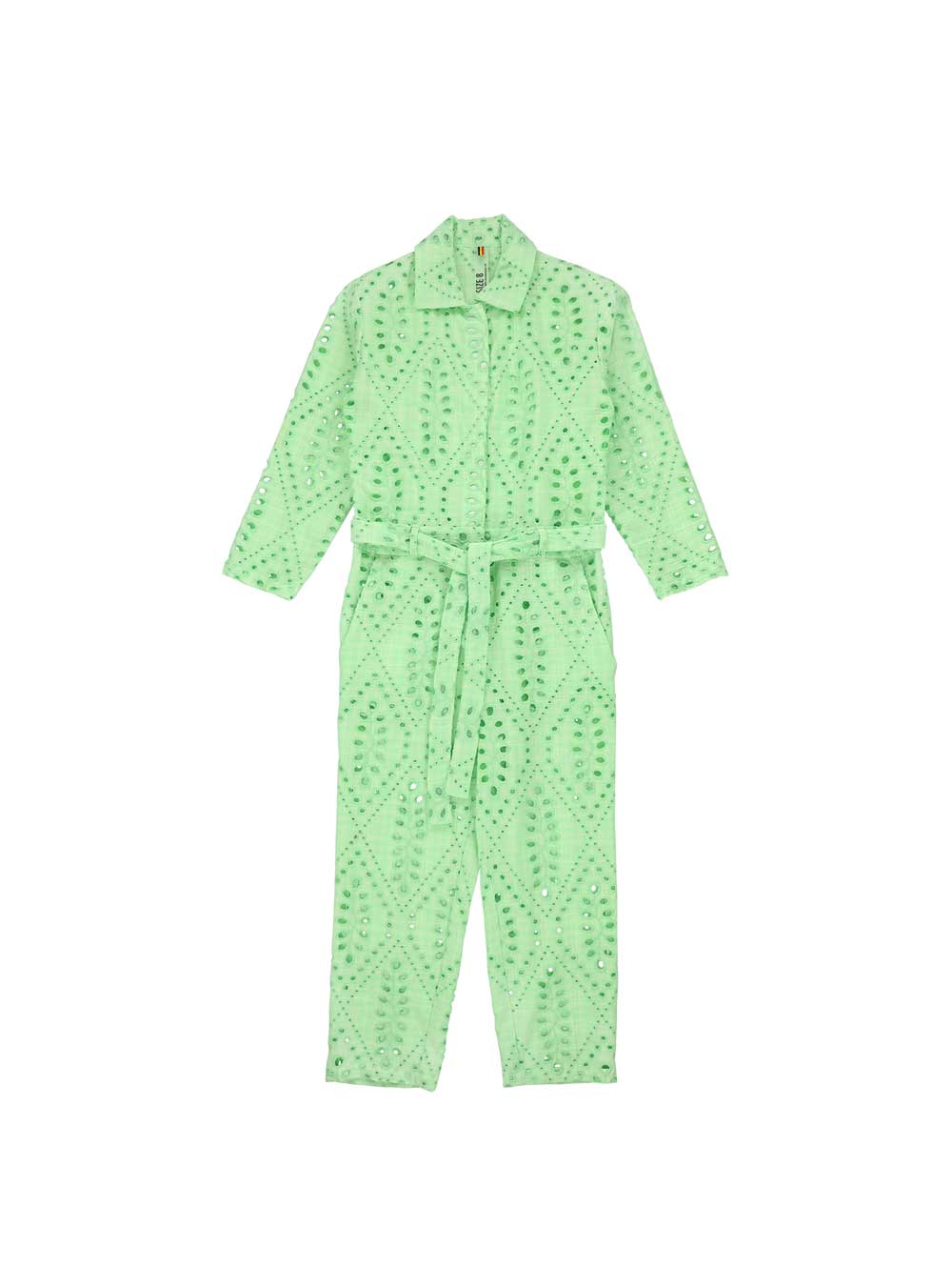 Green Eyelet Overall