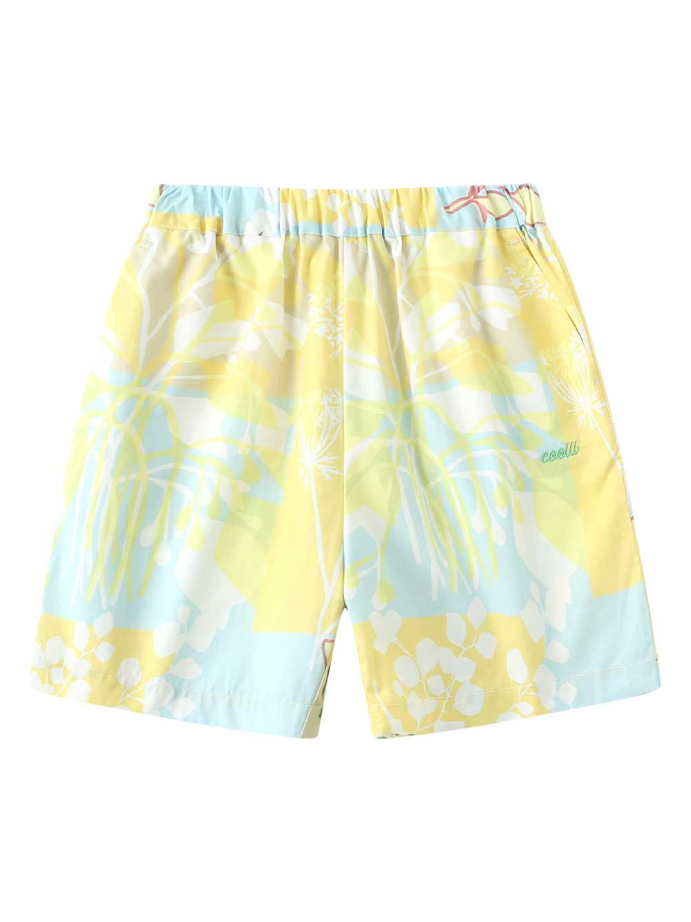 Yellow Print Beach Shorts
