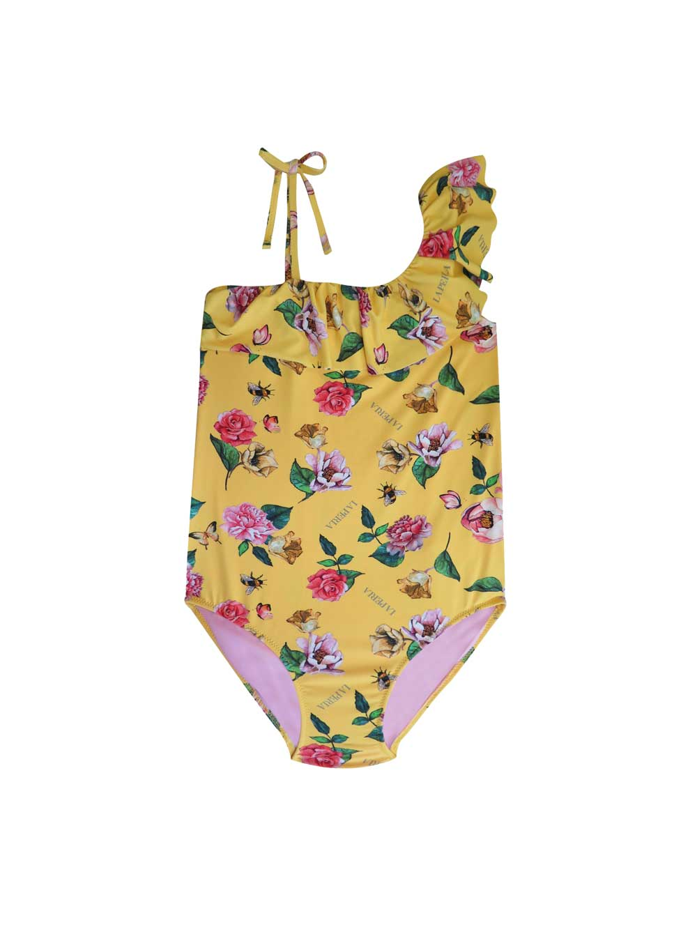 Yellow Shoulder Tie Swimsuit