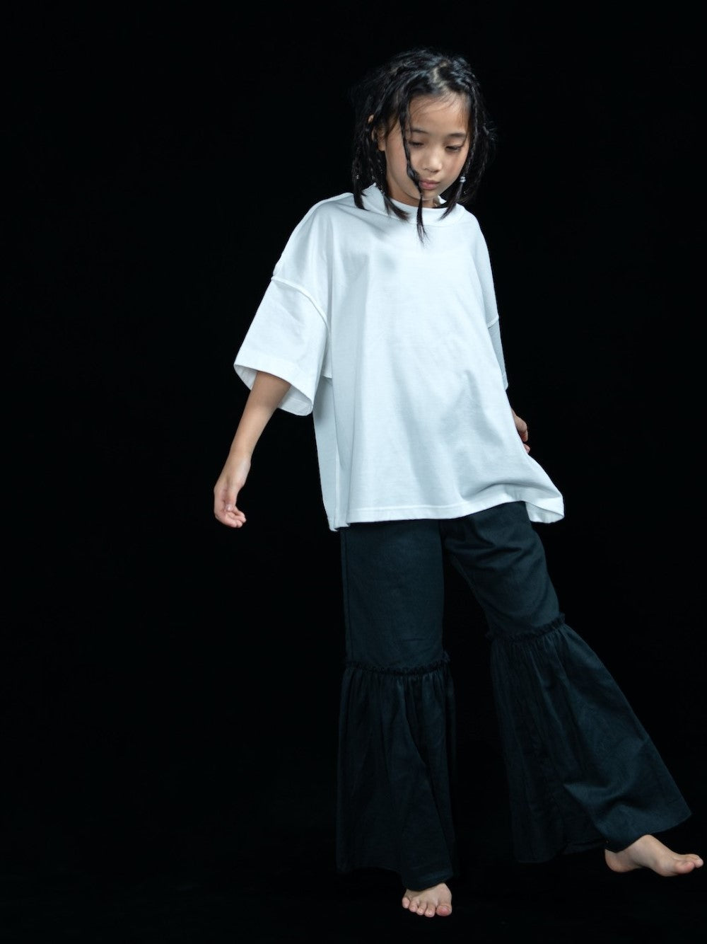 Black Big Frill Pants