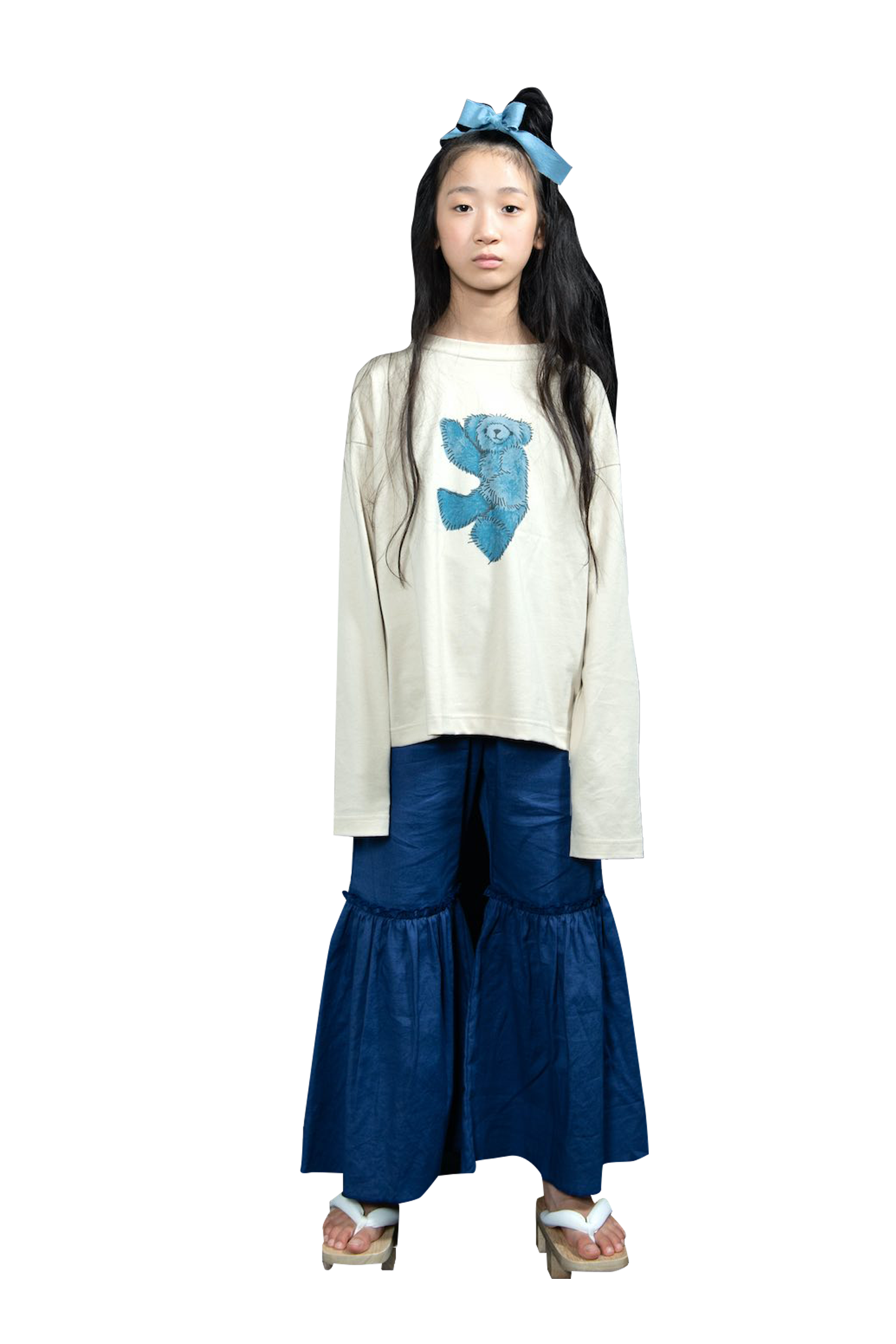 Blue Big Frill Pants