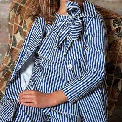 Navy and White Striped Jacket