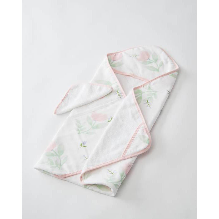 Little Kid Towel + Washcloth Set Pretty Peony