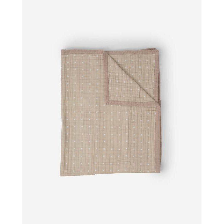 Baby Blanket Taupe Cross