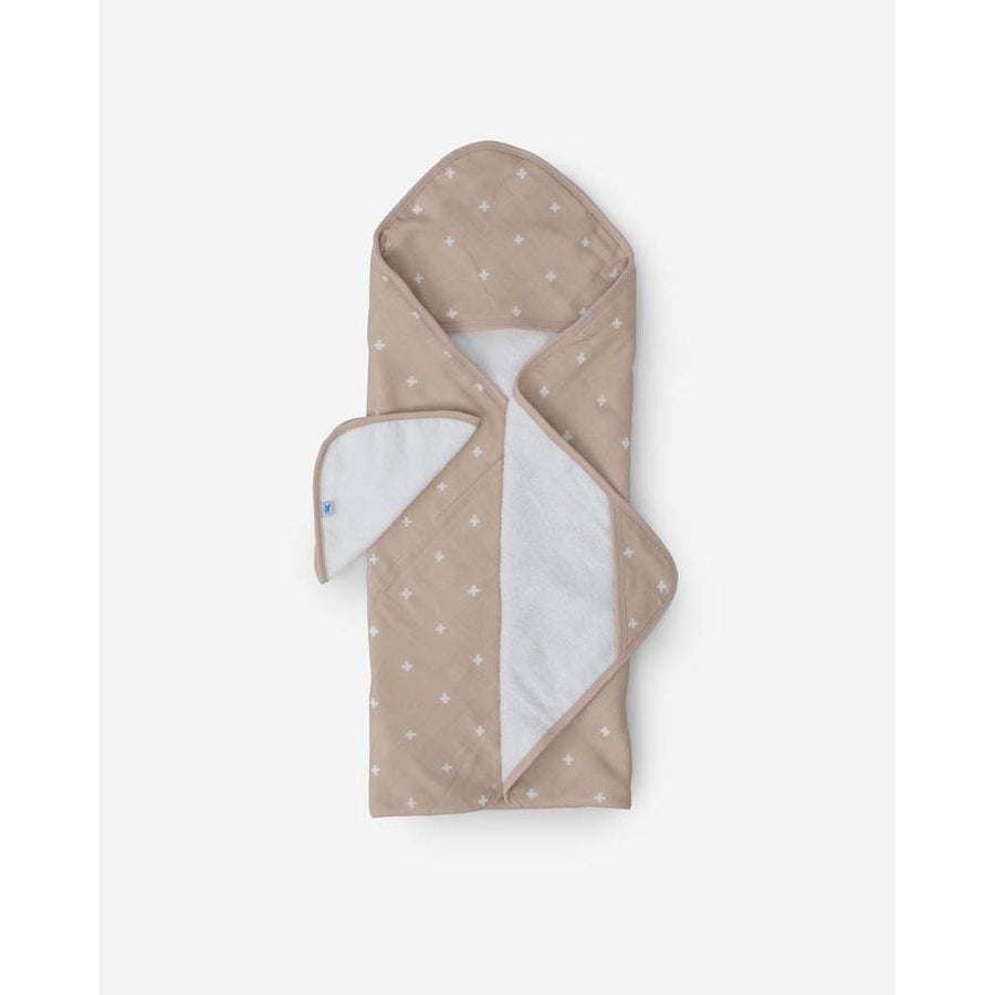 Little Kid Towel + Washcloth Set Taupe Cross