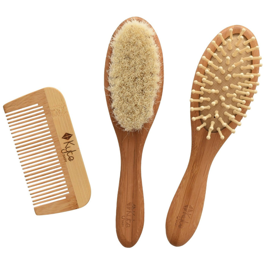 Bamboo Hair Brush + Comb Set - Curated Cradle