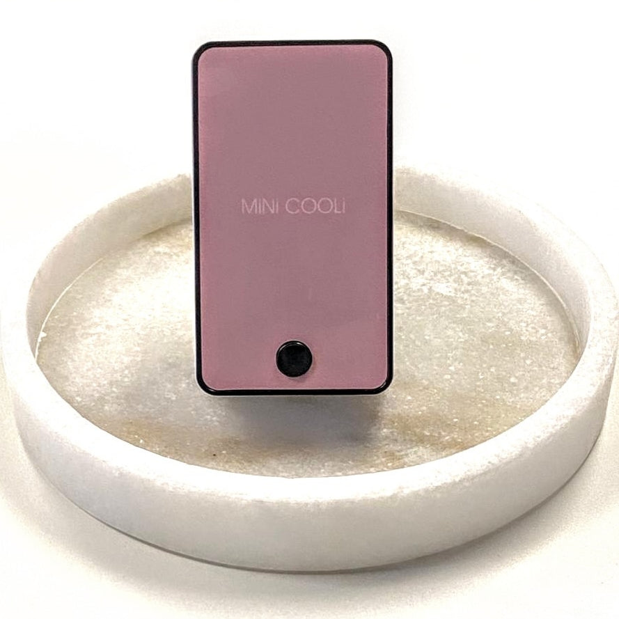 pink mini cooli on white background in the middle of a circular dish