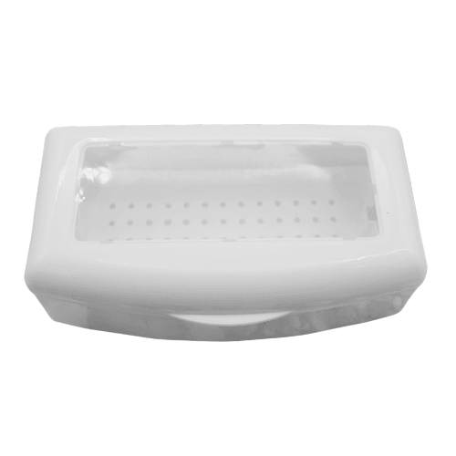 closed white plastic disinfectant container with a clear lid.