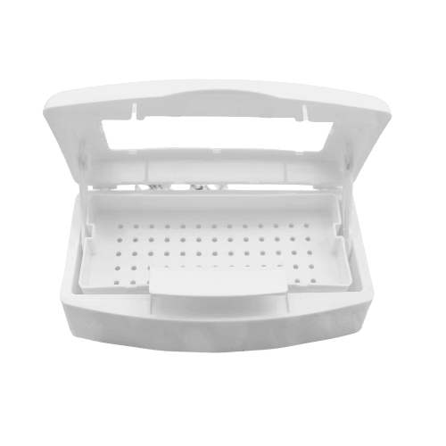 white plastic disinfectant container with a clear lid. also referred to as the sterilizing tray opened