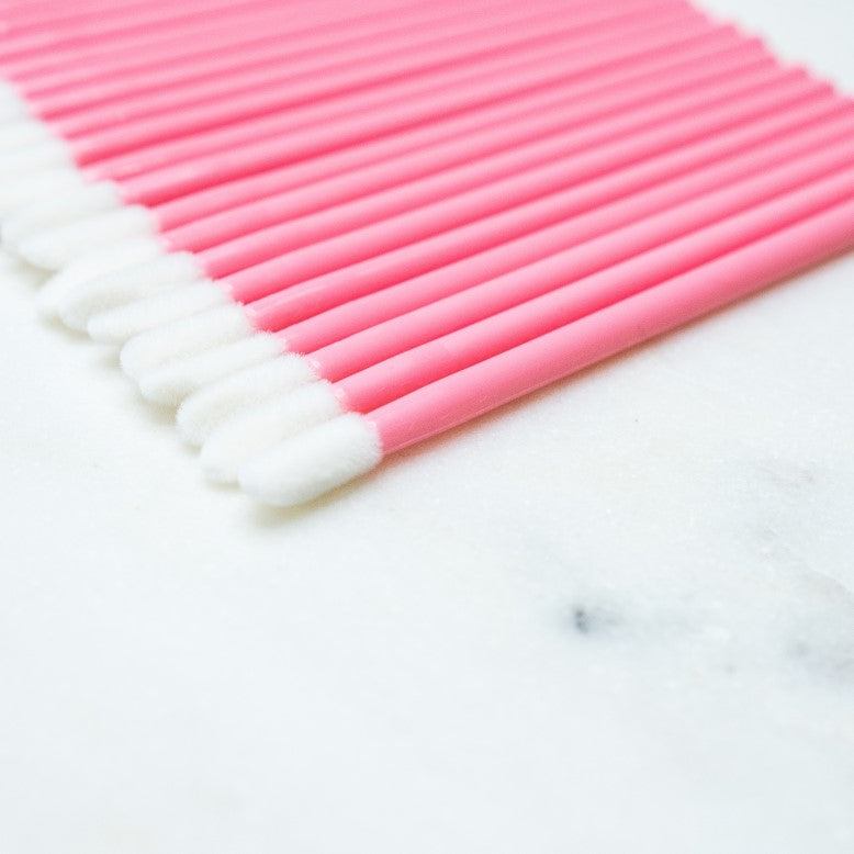 pink lint free lip brushes