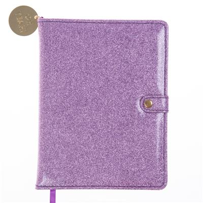 Lavender Glitter Snap Journal