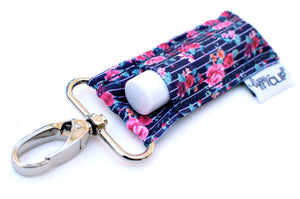 Navy Pinstripe with Roses - Lippy Clip