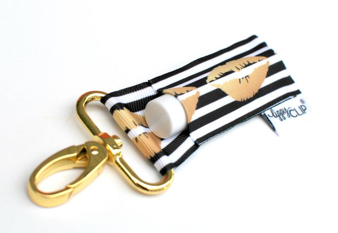 Black and White Stripe with Gold Lips - Lippy Clip