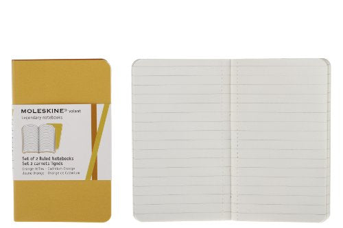 Moleskine Volant Notebook (Set Of 2 ), Extra Small, Ruled, Orange Yellow, Cadmium Orange, Soft Cover (2.5 X 4)