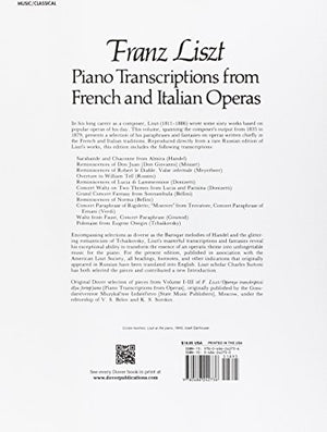 Piano Transcriptions From French And Italian Operas (Dover Music For Piano)