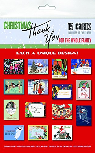 Christmas Thank You For The Whole Family Notecard Packet: 15 Assorted Greeting Cards With Envelopes