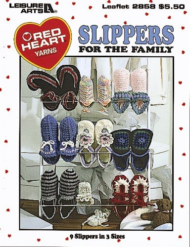 Slippers For The Family (Leisure Arts #2858) (Red Heart Collection)