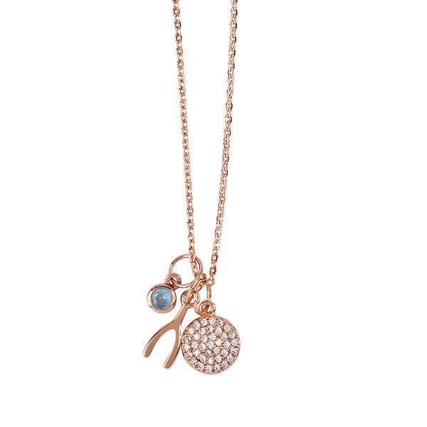 Belle & Beau Rose Gold Make A Wish Charm Necklace - MissieMay
