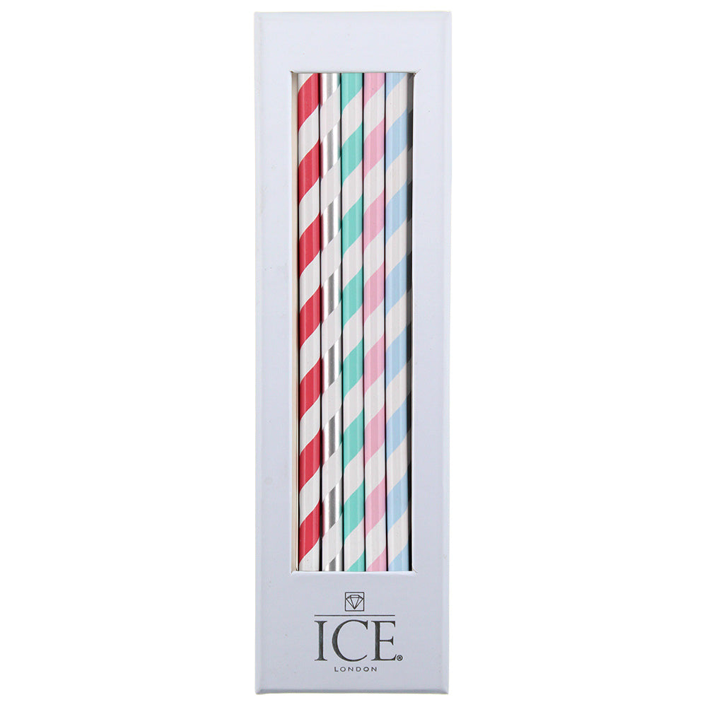 Candy Stripe Set of 10 Pencils with Sharpener - MissieMay