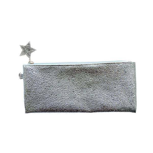 Crushed Foil Pencil Case Star Zip - Blue - MissieMay