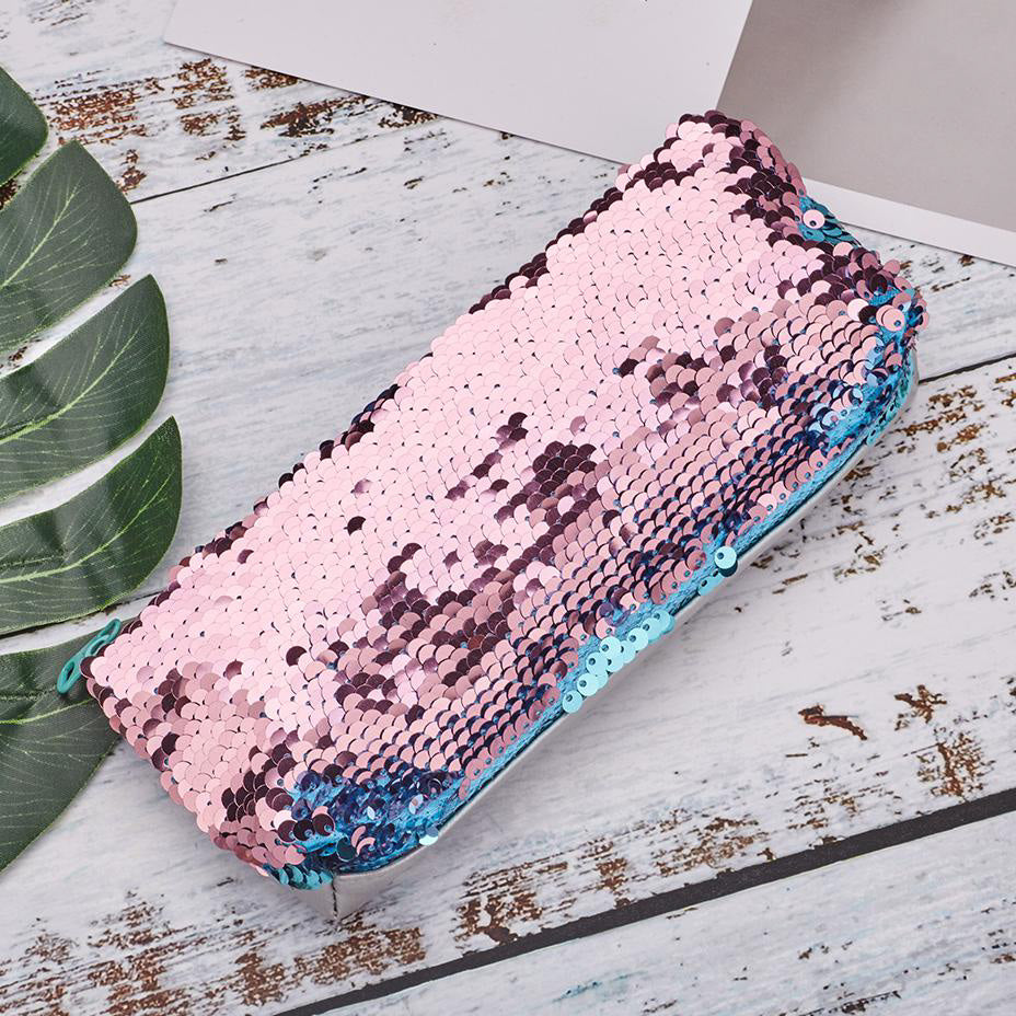 Blue / Pink Reversible Sequin Pencil Case - MissieMay