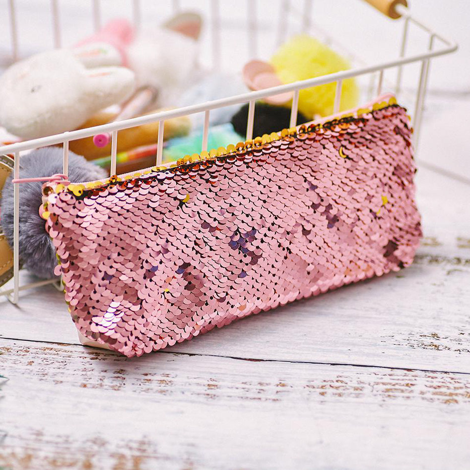Pink / Gold Reversible Sequin Pencil Case - MissieMay