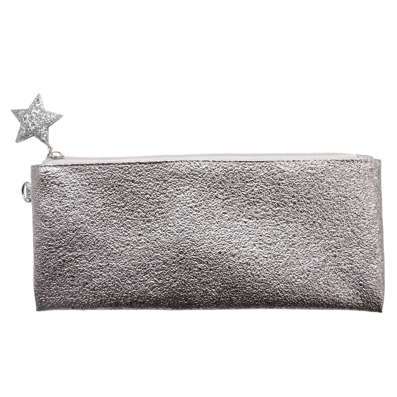 Crushed Foil Pencil Case Star Zip - Silver - MissieMay
