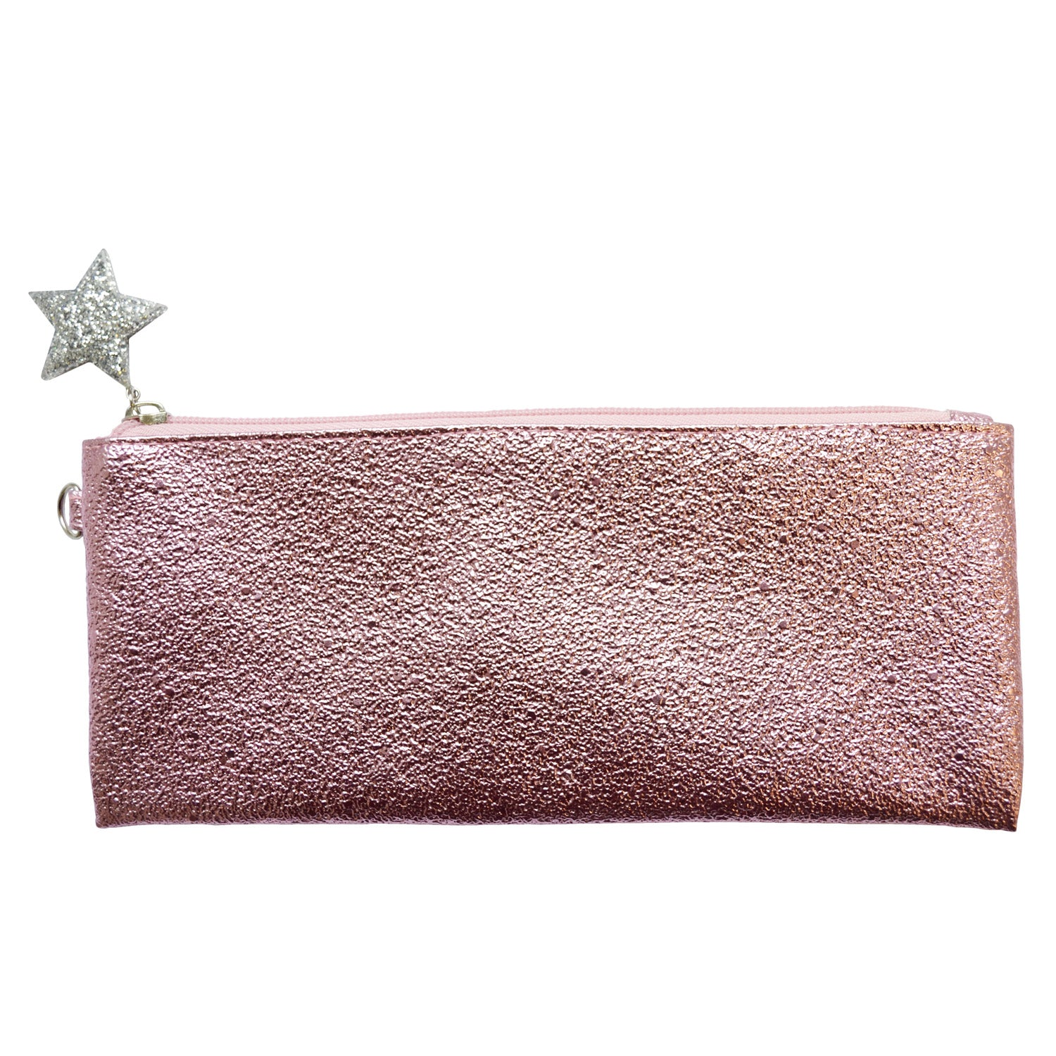 Crushed Foil Pencil Case Star Zip - Pink - MissieMay