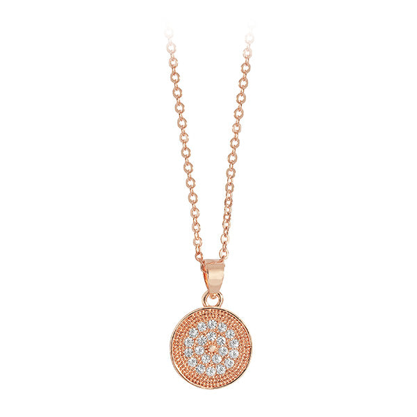 Belle & Beau Pave Rose Gold Disc Pendant Necklace - MissieMay