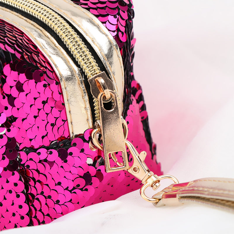 Bright Pink / Silver Large Reversible Sequin Pencil Case - MissieMay