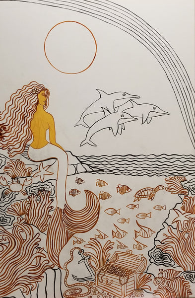 Mermaid And Dolphin Dream Painting Outline