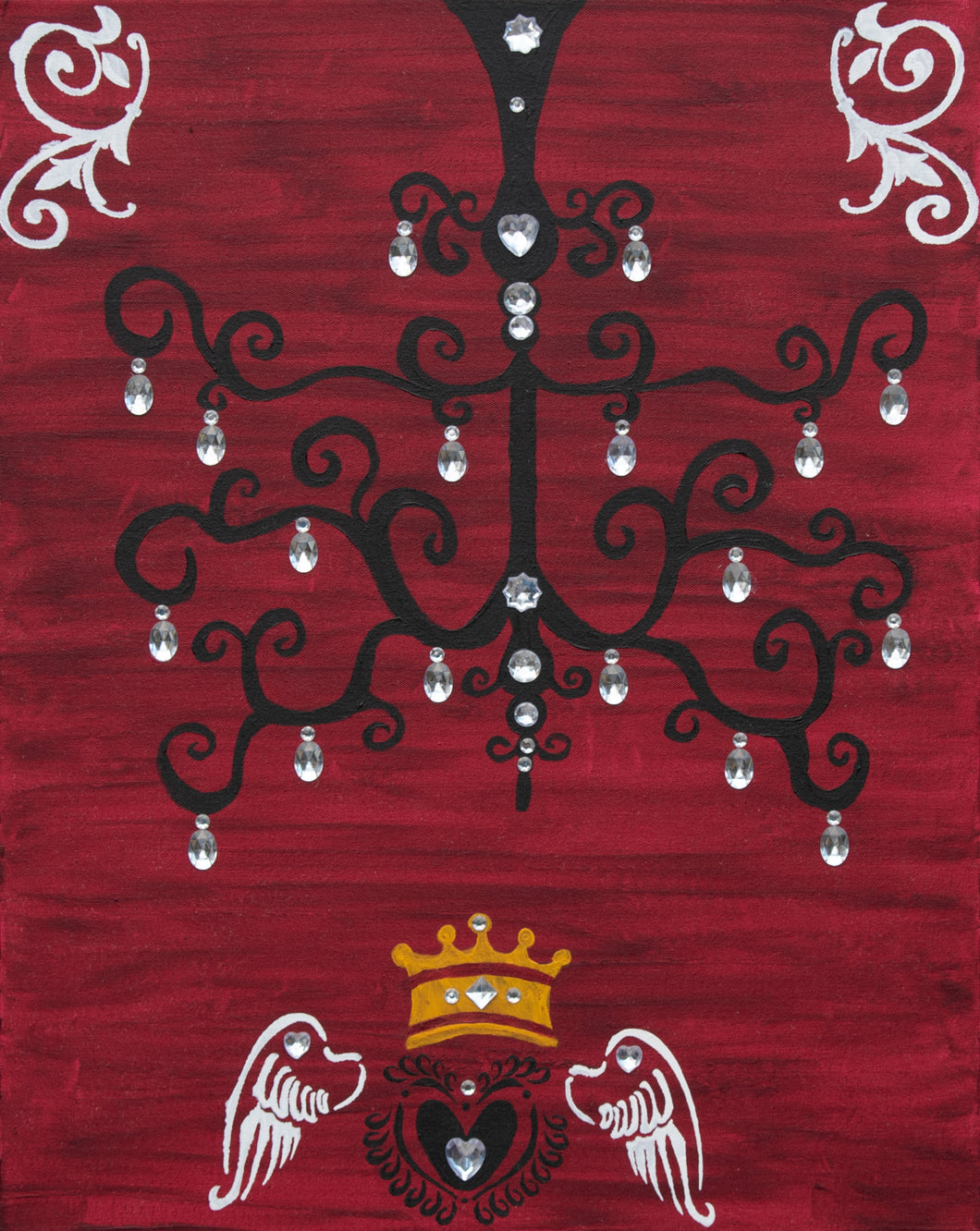 Chandelier With Crystals | Original Painting - Teresa Andre Art