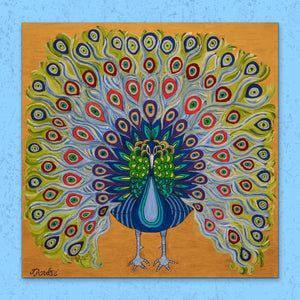 Colorful Peacock | Giclee Wrapped Canvas - Teresa Andre Art