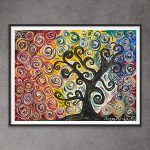 Colorful Tree | Paper Art Print - Teresa Andre Art