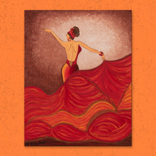 Load image into Gallery viewer, Flamenco Dancer Orange Dress | Giclee Wrapped Canvas - Teresa Andre Art