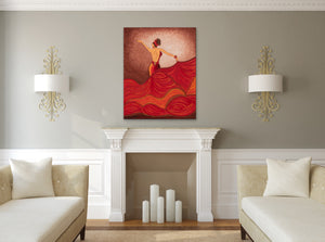 Flamenco Dancer Orange Dress | Giclee Wrapped Canvas - Teresa Andre Art
